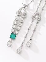 CARTIER | EMERALD AND DIAMOND PENDANT, CARTIER, 1925, AND A DIAMOND SAUTOIR