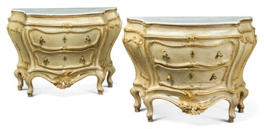 A PAIR OF ITALIAN LACQUERED AND PARCEL-GILT COMMODES, VENICE MID 18TH CENTURY