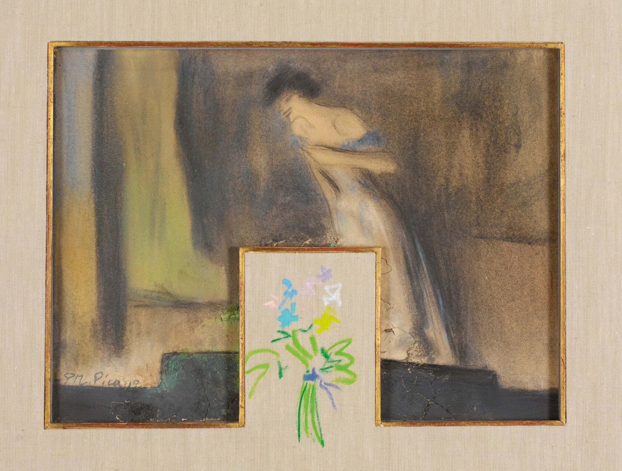 View full screen - View 1 of Lot 27. PABLO PICASSO | TWO DRAWINGS: (I) YVETTE GUILBERT; (II) BOUQUET DE FLEURS.