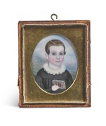 ATTRIBUTED TO MRS. MOSES B. RUSSELL (CLARISSA PETERS) | MINIATURE PORTRAIT OF A BOY IN BLACK COAT, POSSIBLY PHILIP WINSLOW FESSENDEN OF WEST CAMBRIDGE, MASSACHUSETTS