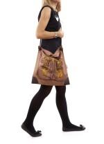 Printed silk and brown leather with palladium hardware shoulder bag, Silkcity Sac, Hermès, 2010