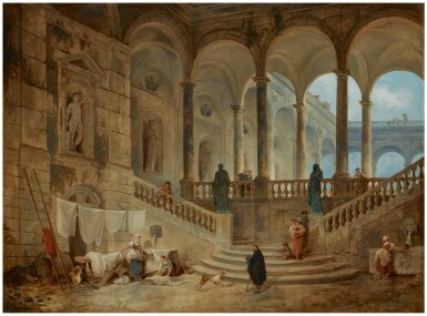 View 1. Thumbnail of Lot 16. HUBERT ROBERT | VIEW OF THE PALAZZO DURAZZO, GENOA, WITH WASHERWOMEN AND OTHER FIGURES IN THE FOREGROUND.