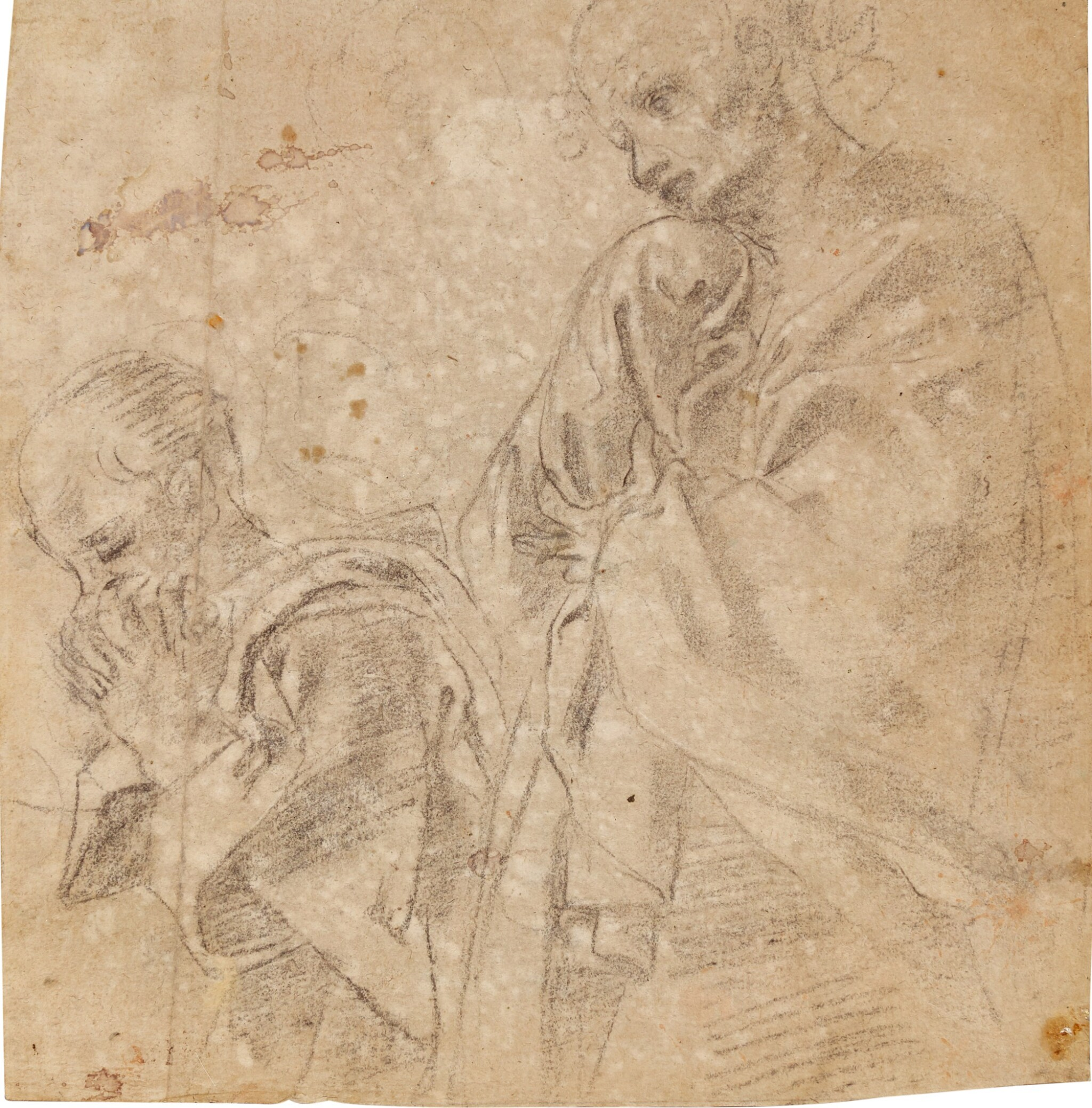 View full screen - View 1 of Lot 10. Recto: Two separate studies for the figure of St. John in a Lamentation; Verso: Study for the figure of the Madonna in an Assumption.