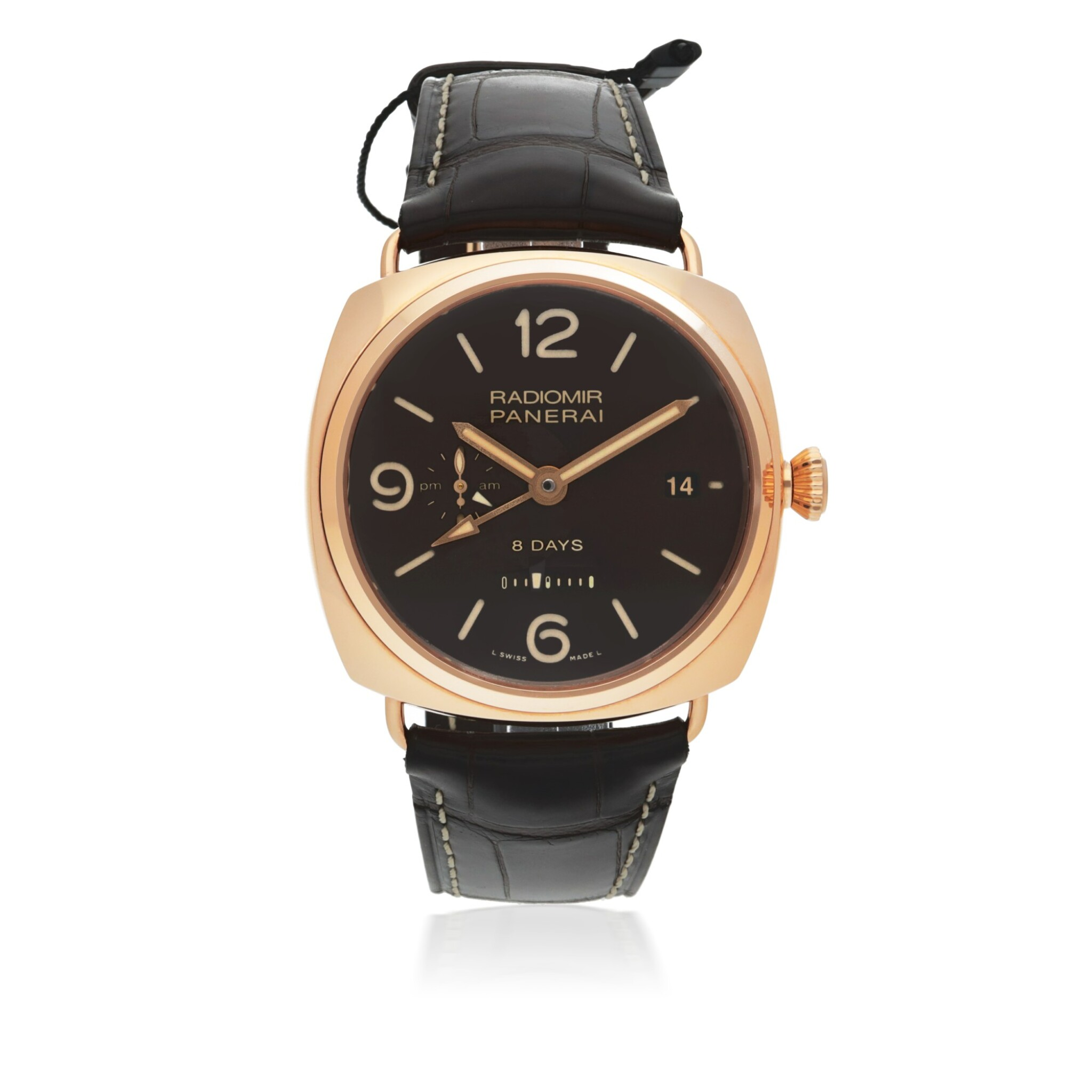 View full screen - View 1 of Lot 46. PANERAI | RADIOMIR 8 DAYS GMT ORO ROSSO, REF PAM00395 LIMITED EDITION PINK GOLD DUAL TIME WRISTWATCH WITH DATE, 24-HOUR AND 8-DAY POWER RESERVE INDICATION CIRCA 2018.