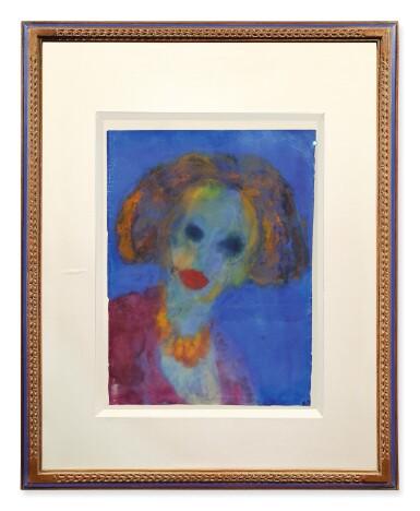 View 2. Thumbnail of Lot 212. EMIL NOLDE | FRAUENKOPF (BLAUER GRUND) (HEAD OF A WOMAN (BLUE GROUND)).