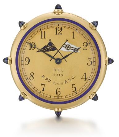 View 2. Thumbnail of Lot 76. CARTIER, PARIS   [卡地亞,巴黎]    A GOLD AND ENAMEL KEYLESS OPEN-FACED WATCH IN THE SHAPE OF A SHIP'S WHEEL TO COMMEMORATE THE SUCCESS OF THE AMERICAN RACING SCHOONER WESTWARD AT THE 1910 KIEL REGATTA  CIRCA 1910   [黃金畫琺瑯船輪形懷錶,為紀念美國Westward縱帆快艇勝出1910年Regatta帆船賽製造,年份約1910].