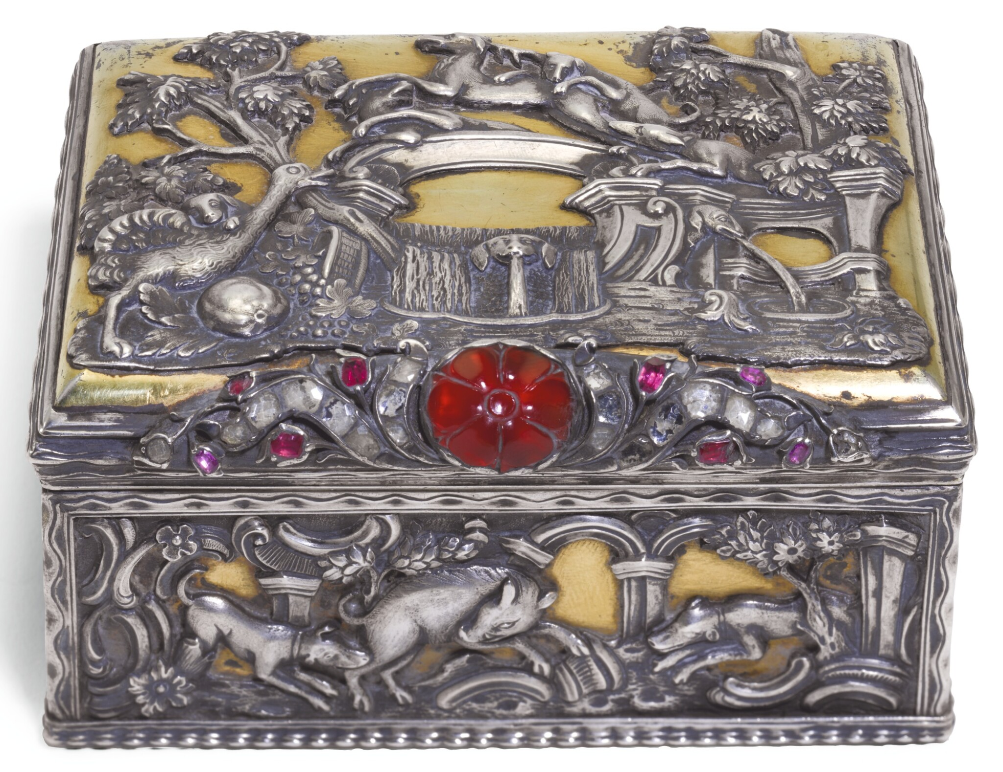 View full screen - View 1 of Lot 63. A JEWELLED PARCEL-GILT SILVER TABLE SNUFF BOX, PROBABLY GERMAN, CIRCA 1760.