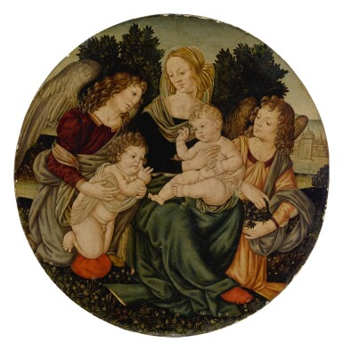 View 1. Thumbnail of Lot 572. Madonna and Child with the infant Saint John the Baptist and two angels.