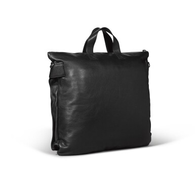 View 2. Thumbnail of Lot 723. BLACK LEATHER TOTE MESSENGER BAG.