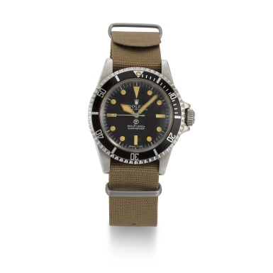 View 1. Thumbnail of Lot 375. ROLEX | A RARE STAINLESS STEEL CENTRE SECONDS WRISTWATCH MADE FOR THE BRITISH MILITARY, REF 5513 NO 3826463 SUBMARINER, MADE AND ISSUED 1974.