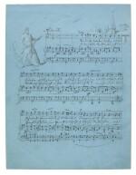 "F. Mendelssohn. Fine illustrated autograph manuscript of the song ""Wenn die Abendglocken läuten"", 1830"