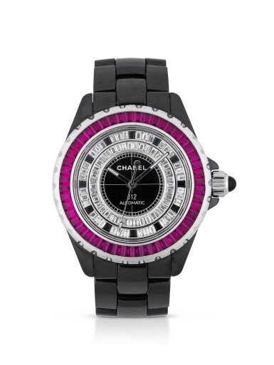 CHANEL | J12 ASIA LIMITED EDITION, REF H2007 BLACK CERAMIC, RUBY AND DIAMOND-SET WRISTWATCH WITH BRACELET CIRCA 2007
