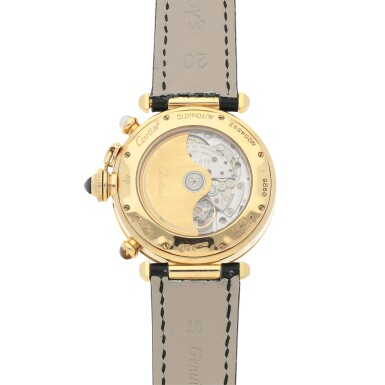 View 4. Thumbnail of Lot 469. Pasha, Ref. 0925-1 Yellow gold triple time zone wristwatch with date and moon phases Circa 1990 | 卡地亞  0925-1型號「Pasha」黃金三地時間腕錶備日期及月相顯示,年份約1990.
