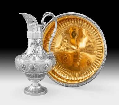 A silver ewer and basin within fitted case, JBG Odiot, Paris, 1869 |...