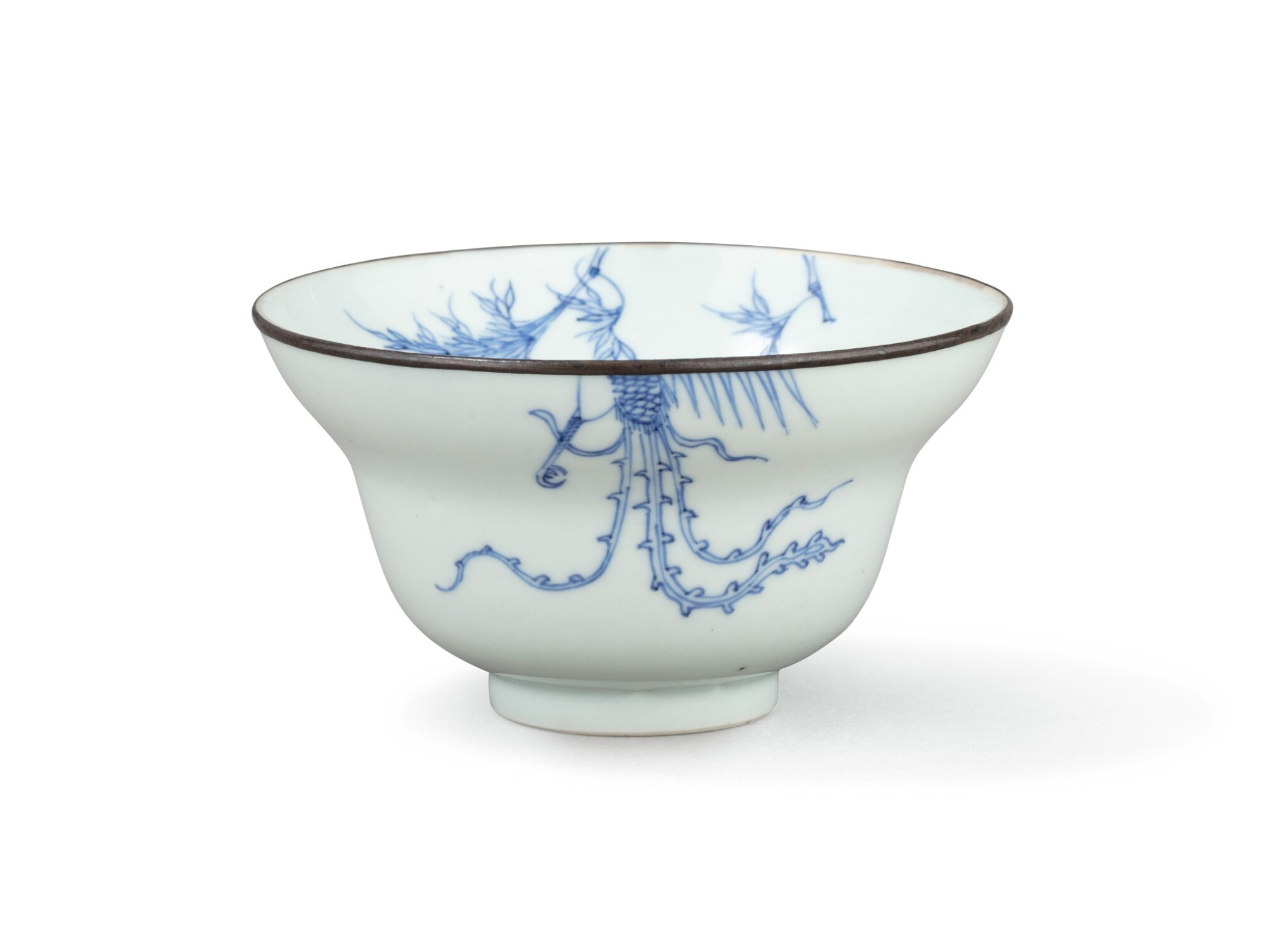 View full screen - View 1 of Lot 374. A blue and white ogee bowl, China, Qing Dynasty, 18th century.