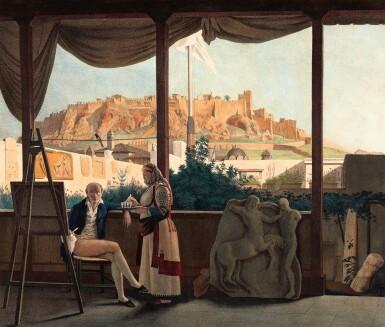 View 1. Thumbnail of Lot 47. Dupre. Voyage a Athenes et a Constantinople. Paris, 1825. folio, colour plates, twentieth-century blue half morocco gilt.