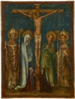 MASTER OF THE LITTLE COLOGNE PASSION | The Crucifixion,withthe Virgin, Saint John the Evangelist, Saint Augustine, a bishop, and two nuns