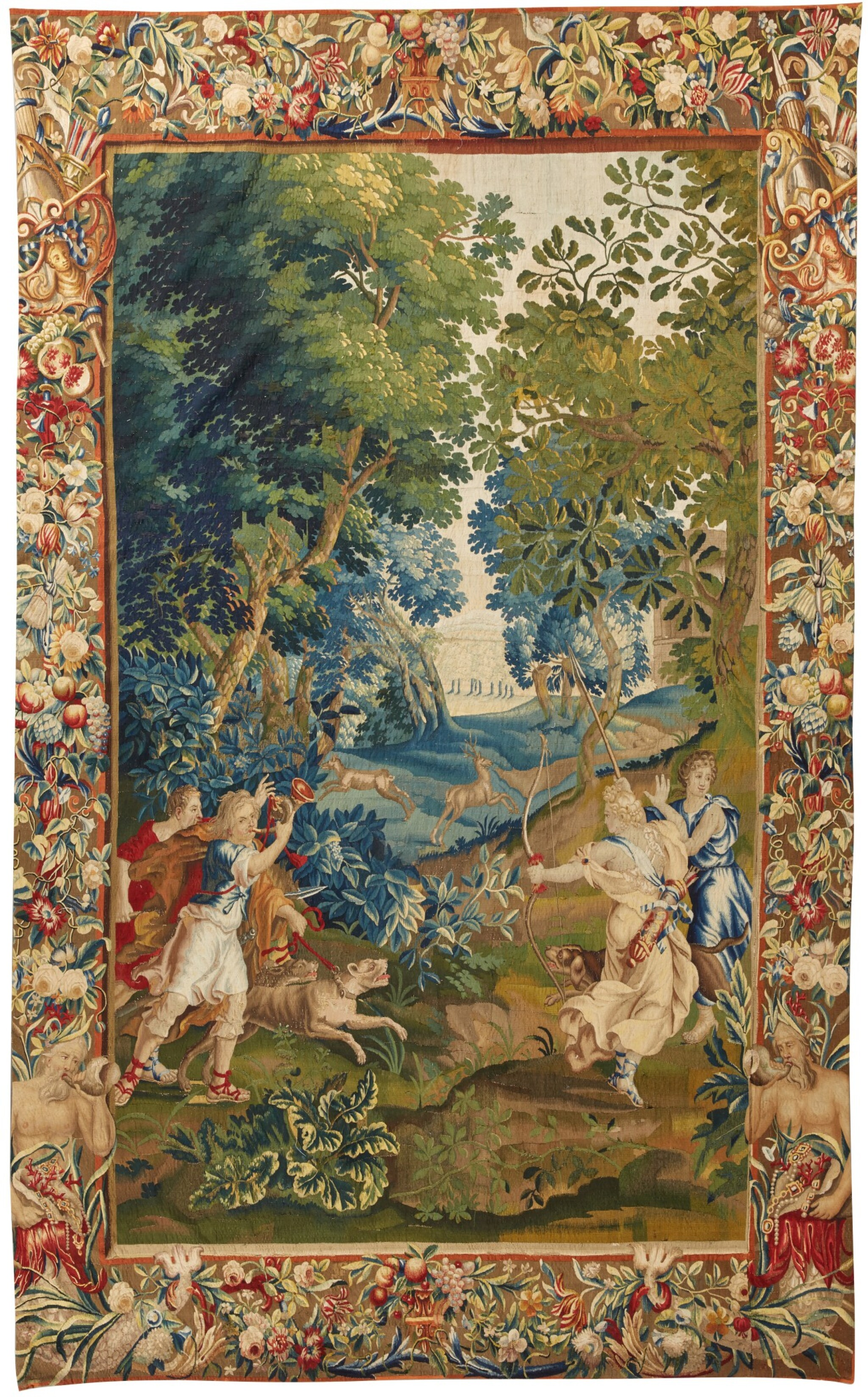 View full screen - View 1 of Lot 91. A Flemish mythological tapestry, Brussels or Antwerp workshop, circa 1700-1720, possibly from the Story of Diana, after designs by Louis van Schoor and Pieter Spierinckx.