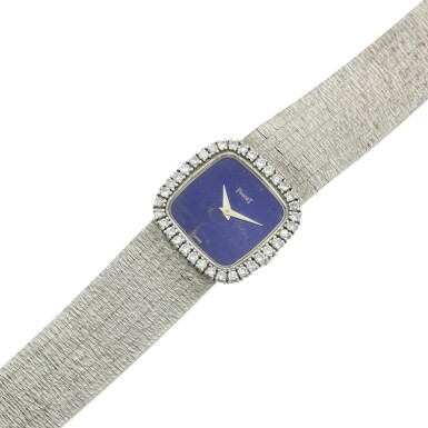 View 6. Thumbnail of Lot 111. A white gold and diamond-set cushion shaped bracelet watch with lapis lazuli dial, Circa 1970.