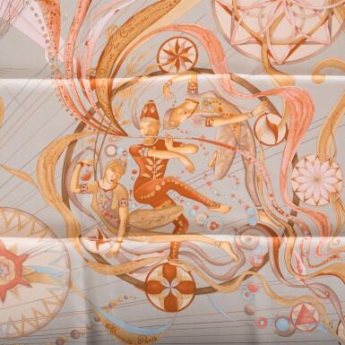 "View 7. Thumbnail of Lot 98. Hermès Set of Two Scarves:""La Danse du Cosmos"" Silk Twill Scarf 90cm and ""Armeria"" Silk Twill 90cm."