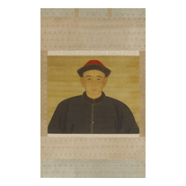 A RARE PORTRAIT OF A YOUNG OFFICIAL,  QING DYNASTY