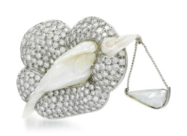 View 2. Thumbnail of Lot 276.  GEOFF ROWLANDSON | CULTURED PEARL AND DIAMOND BROOCH, 'SPECIAL DELIVERY'.