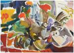 IVON HITCHENS | ORANGE LILIES AND WHITE DAISIES