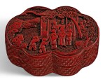 A CARVED CINNABAR LACQUER LOBED BOX AND COVER QING DYNASTY, QIANLONG PERIOD | 清乾隆 剔紅嬰戲圖蓋盒