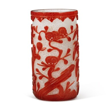 View 3. Thumbnail of Lot 61. A red overlay snowflake glass 'flower' brushpot, Qing dynasty, 19th century.