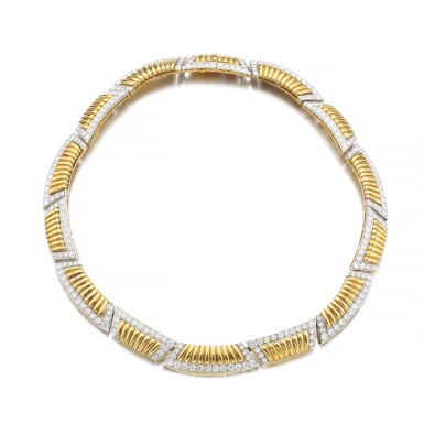 View 1. Thumbnail of Lot 1177. Gold and diamond necklace.