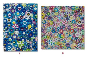 村上隆 Takashi Murakami   A: 向IKB致敬, 1957 D;B: 香格里拉 香格里拉 香格里拉(兩件) A: An Homage to IKB 1957 D; B: Shangri-La Shangri-La Shangri-La (two works)