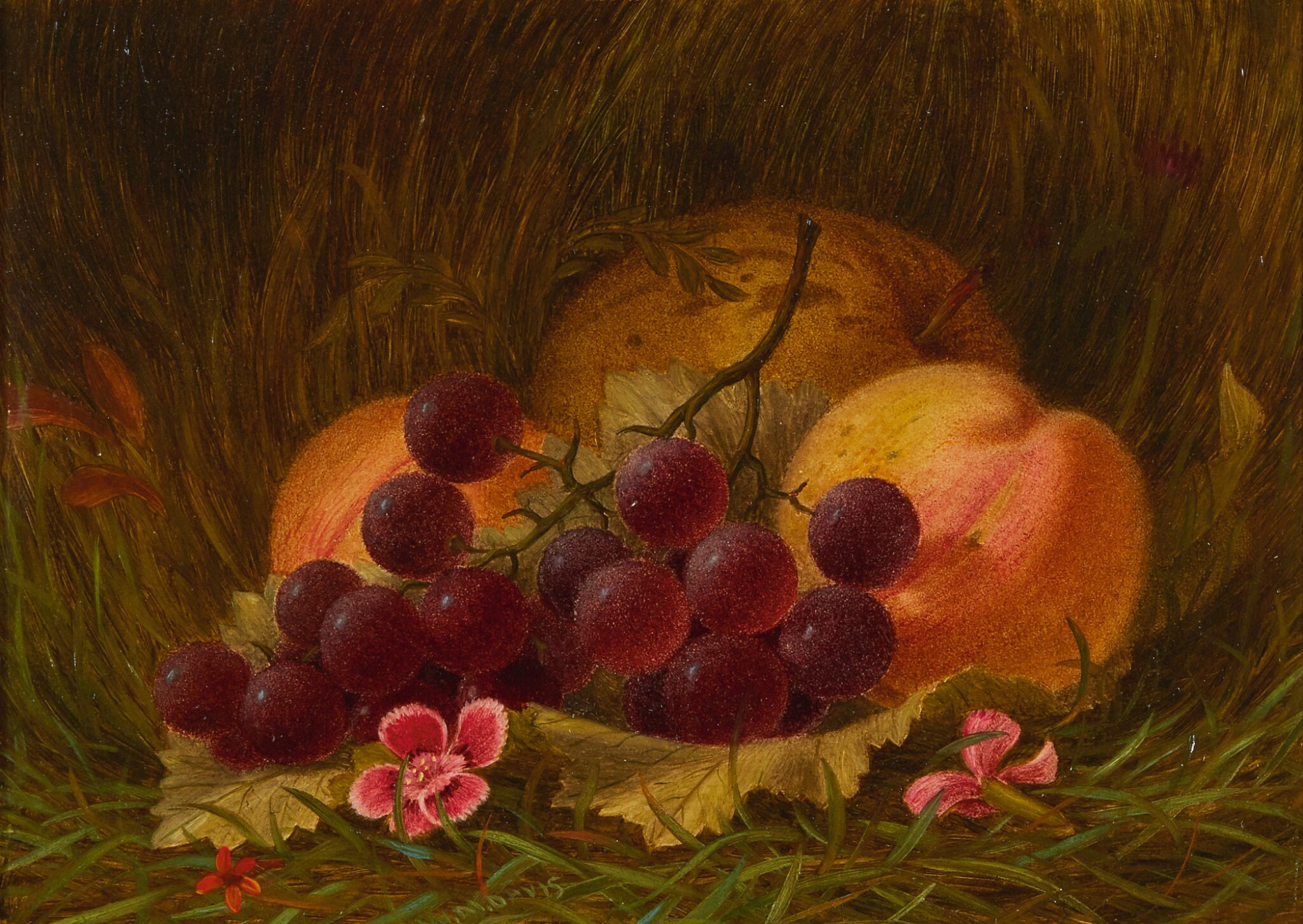 View full screen - View 1 of Lot 12. WILLIAM MOORE DAVIS | STILL LIFE WITH GRAPES AND PEACHES .