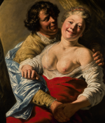 JAN LIEVENS | WOMAN EMBRACED BY A MAN, MODELLED BY THE YOUNG REMBRANDT