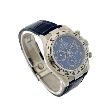 View 4. Thumbnail of Lot 9. REFERENCE 116519 DAYTONA A RARE WHITE GOLD AUTOMATIC CHRONOGRAPH WRISTWATCH WITH SODALITE DIAL, CIRCA 2002.