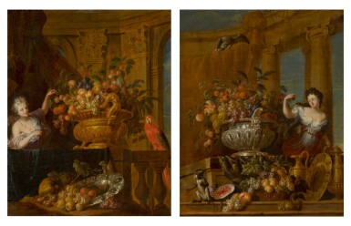 JAN PAUWEL GILLEMANS THE YOUNGER   A pairof fruit still lifes in silver bowls in classical settings: a ladywith a parrot; and a ladywith a monkey