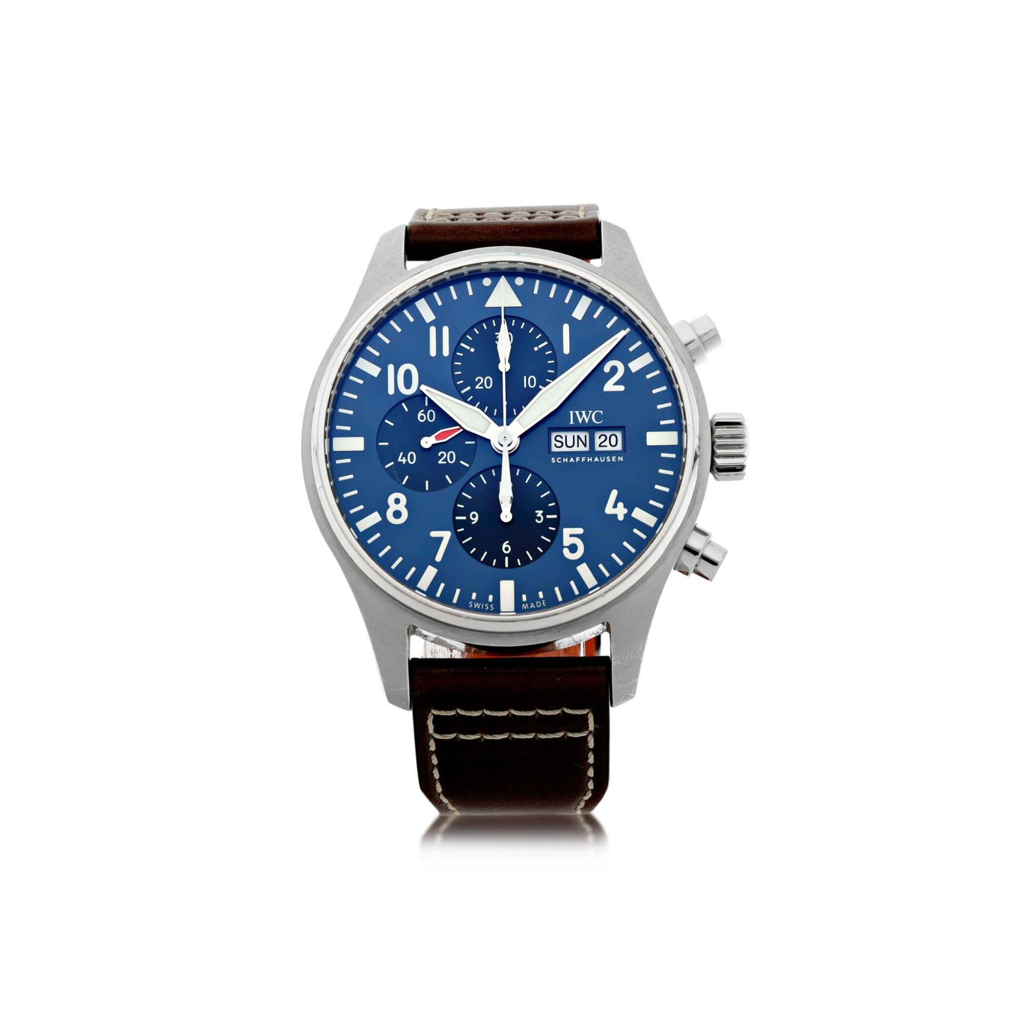 View full screen - View 1 of Lot 557. IWC | REFERENCE IW3777-14 PILOT'S WATCH LE PETIT PRINCE  A STAINLESS STEEL AUTOMATIC CHRONOGRAPH WRISTWATCH WITH DAY AND DATE, CIRCA 2016.