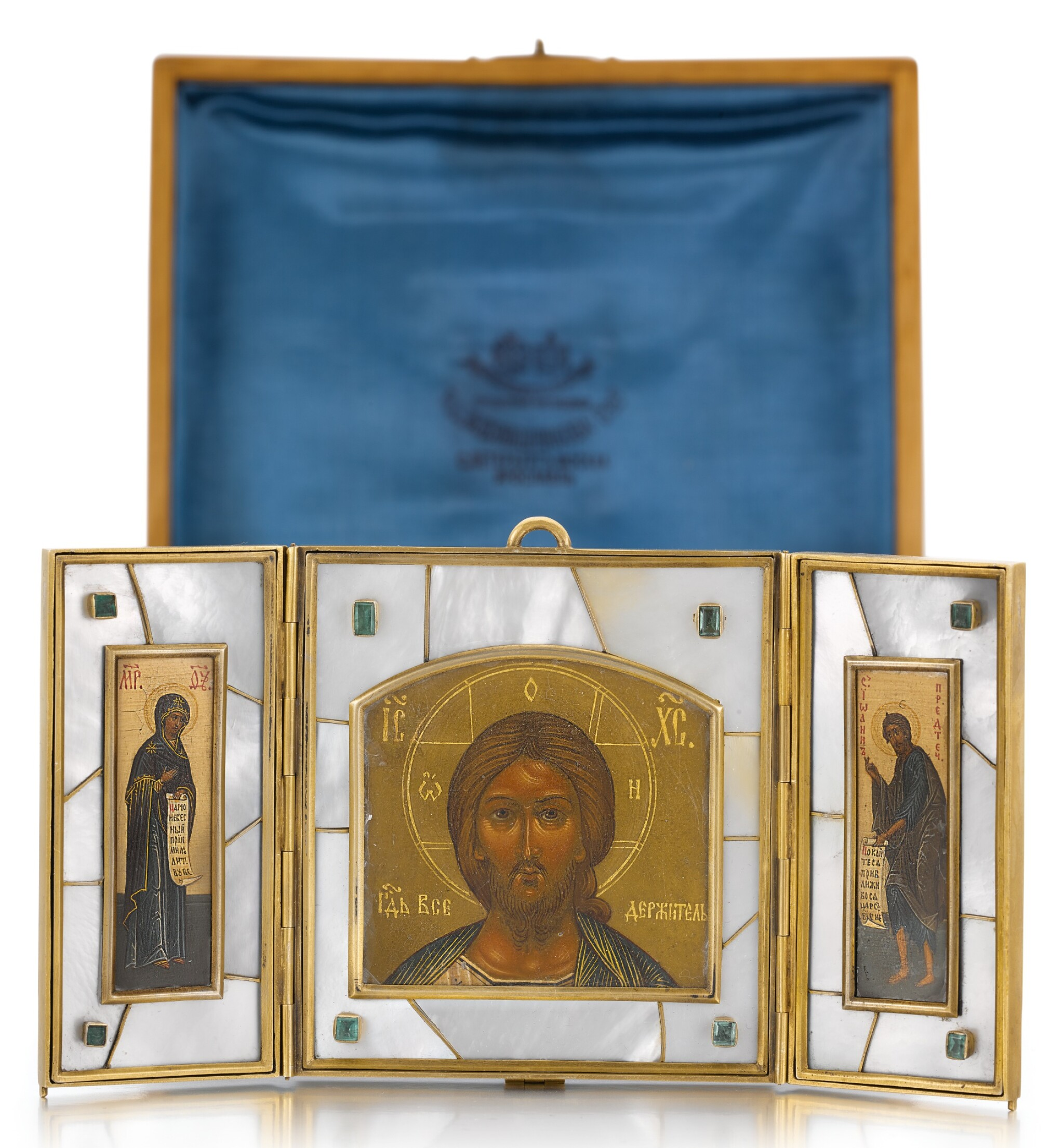 View full screen - View 1 of Lot 508. A GEM-SET SILVER-GILT AND MOTHER OF PEARL TRAVELLING TRIPTYCH ICON, OLOVYANISHNIKOV AND SONS, MOSCOW, 1908-1917.