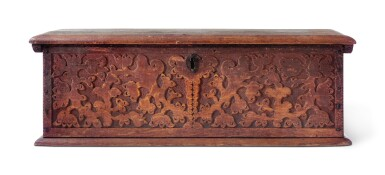 View 10. Thumbnail of Lot 59. Very Fine and Rare Pilgrim Century Red-Painted Carved Oak and Yellow Pine Document Box, attributed to John Moore I, Windsor, Connecticut, circa 1685.