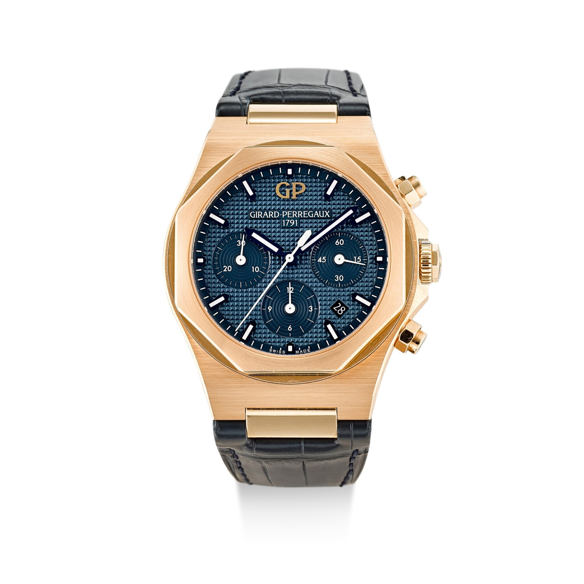 View full screen - View 1 of Lot 103. GIRARD-PERREGAUX   LAUREATO, REFERENCE 81020, A PINK GOLD CHRONOGRAPH WRISTWATCH WITH DATE, CIRCA 2018.