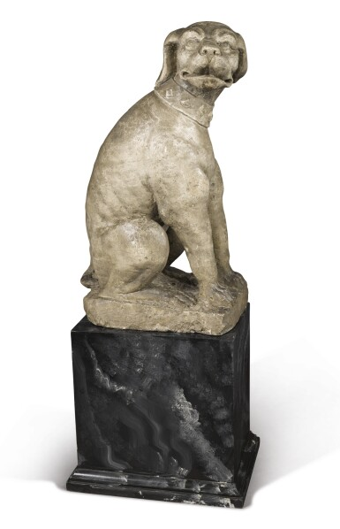 A COMPOSITE FIGURE OF A SEATED DOG, LATE 19TH CENTURY