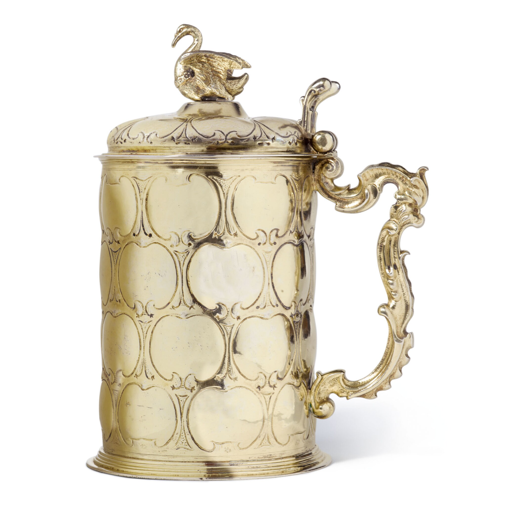 View full screen - View 1 of Lot 76. A LARGE GERMAN SILVER-GILT TANKARD, MAKER'S MARK ? I R, POSSIBLY DANZIG, LATE 17TH CENTURY.