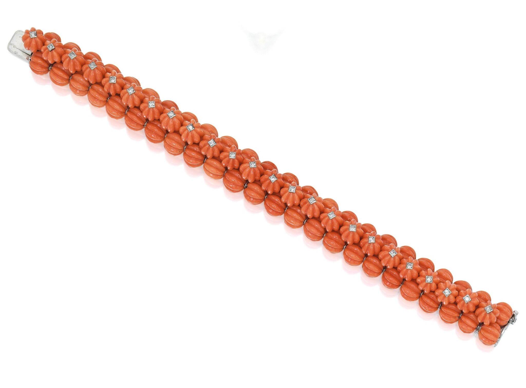 View full screen - View 1 of Lot 44. CARTIER   CORAL AND DIAMOND BRACELET.