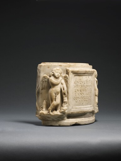 View 2. Thumbnail of Lot 50. A FRAGMENTARY ROMAN MARBLE CINERARY URN, 1ST/2ND CENTURY A.D..
