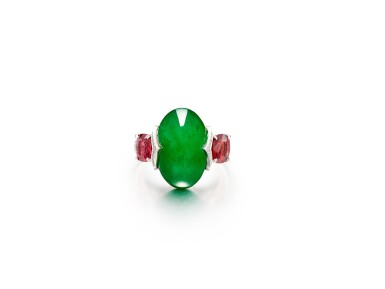 View 1. Thumbnail of Lot 1733. Jadeite, Spinel and Diamond Ring   天然翡翠 配 尖晶石 及 鑽石 戒指.