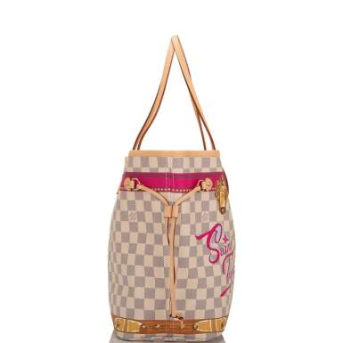 View 4. Thumbnail of Lot 213. Louis Vuitton Damier Azur St. Tropez Summer Trunk Neverfull MM of Coated Canvas and Vachetta Leather Trim with Polished Golden Brass Hardware.