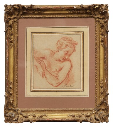 View 2. Thumbnail of Lot 10. FRANÇOIS BOUCHER | HALF LENGTH STUDY OF A YOUNG WOMAN, LOOKING DOWN TO THE RIGHT.