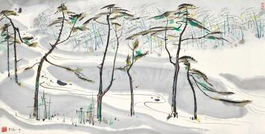 View 1. Thumbnail of Lot 2623. Wu Guanzhong 吳冠中   The Running Stream of Mount Yulong 玉龍山下奔流.