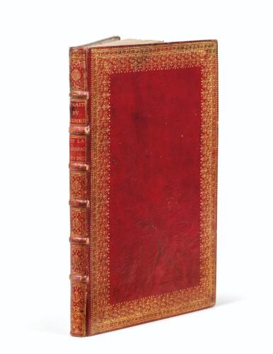 View 1. Thumbnail of Lot 203. COMPAGNIE DES INDES. Manuscrit. Traité du commerce, 1724. In-fol. maroquin rouge à dentelles de l'époque..