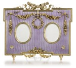 A Fabergé gold-mounted, silver-gilt and guilloché enamel double-frame, workmaster Victor Aarne, St Petersburg, circa 1890