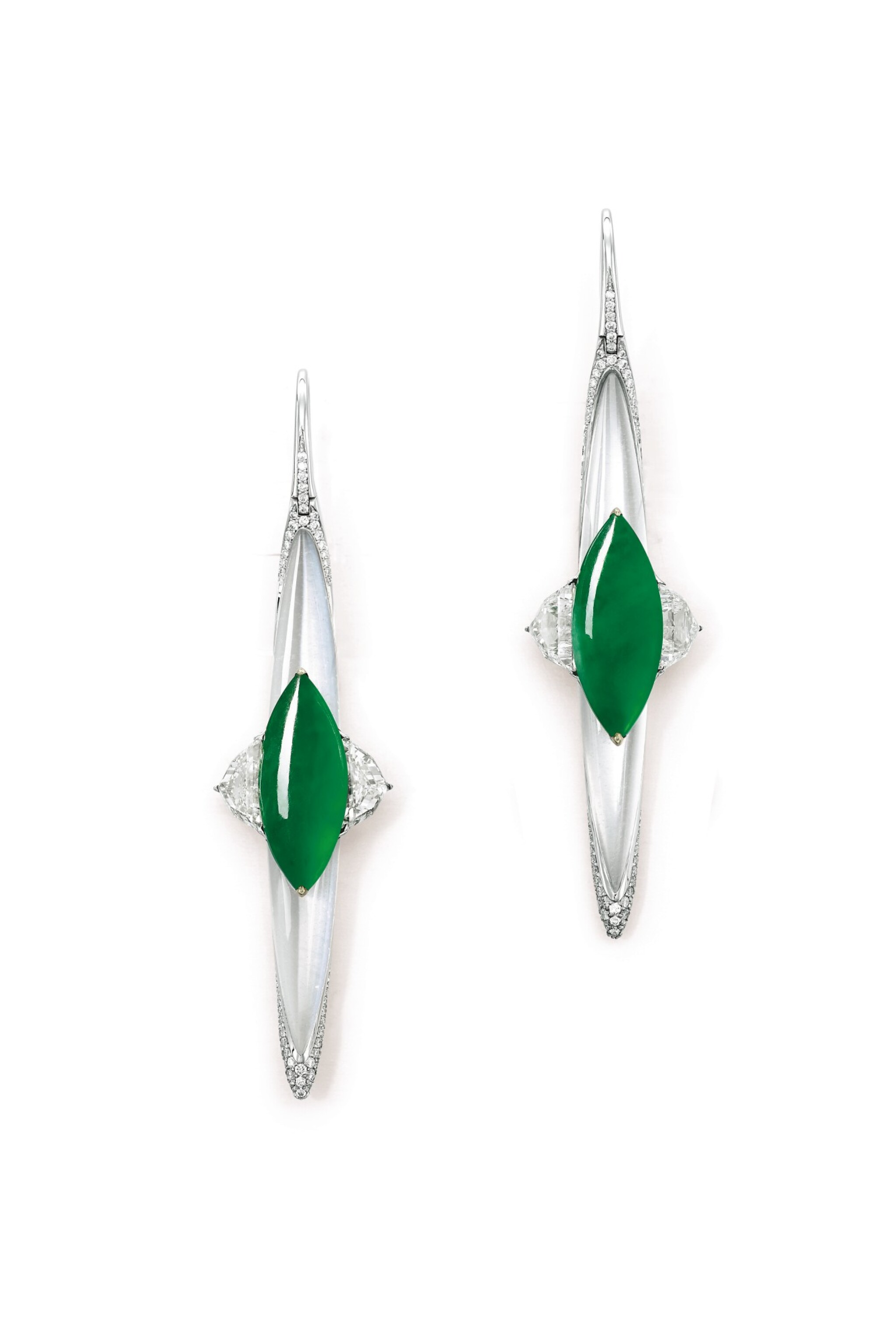 View full screen - View 1 of Lot 1644. FORMS |Pair of Jadeite, Diamond and Moonstone Pendent Earrings | FORMS | 天然翡翠 配 鑽石 及 月光石 耳墜一對.